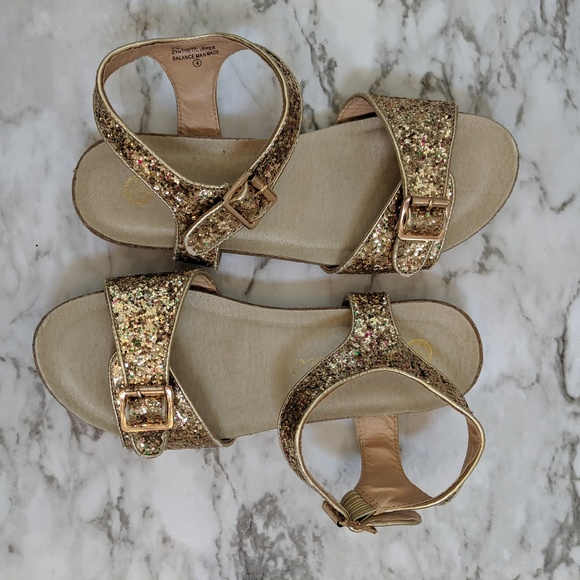 cf34a84648c1 Chase + Chloe Shoes | Chase Chloe Birkenstock Gold Glitter Sandals ...